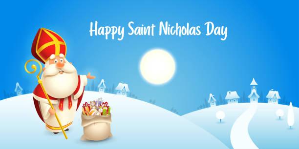 stockillustraties, clipart, cartoons en iconen met happy saint nicholas day-winter scène wenskaart of banner-blauwe achtergrond - cadeau sinterklaas