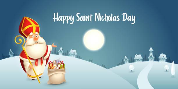 stockillustraties, clipart, cartoons en iconen met happy saint nicholas day-winter scène wenskaart of banner-donkere nacht achtergrond - cadeau sinterklaas