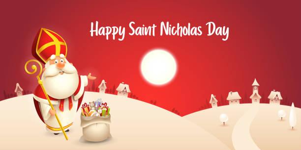 stockillustraties, clipart, cartoons en iconen met happy saint nicholas day-winter scène wenskaart of banner-rode nacht achtergrond - cadeau sinterklaas