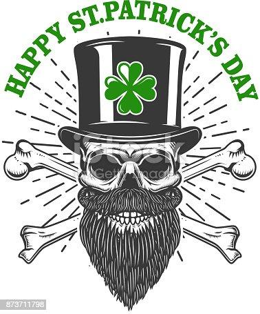 istock Feliz santo día de patrick. Cráneo de duende irlandés con el ...