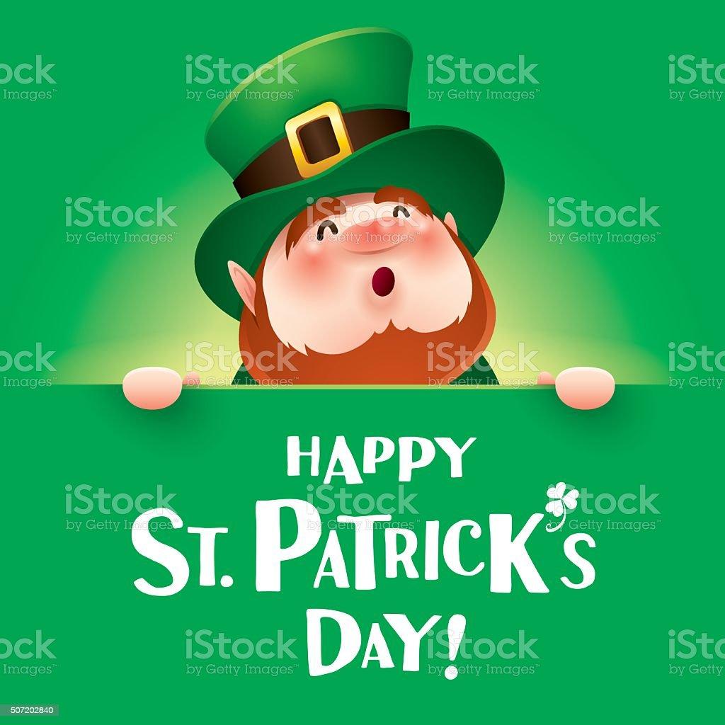 Glücklich St Patrick Tag Leprechaunkobold Mit Großen Unterschreiben ...
