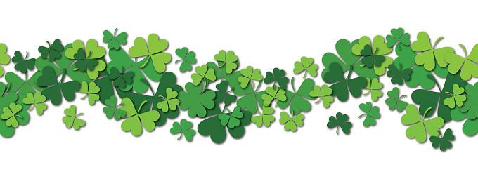 Happy Saint Patrick s day vector horizontal seamless pattern background with shamrock.