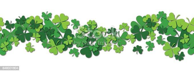 Happy Saint Patrick s day vector horizontal seamless pattern background with shamrock. Vector illustration.
