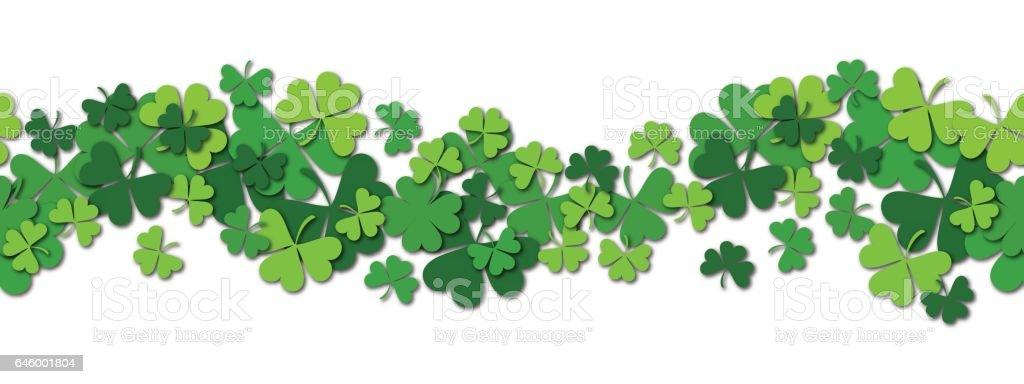 Happy Saint Patrick s day vector horizontal seamless pattern background with shamrock. vector art illustration