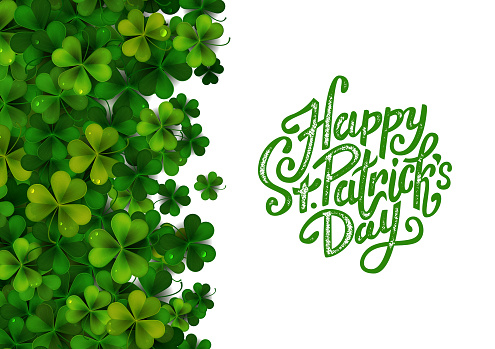 Happy Saint Patrick's Day background with realistic green shamrock leaves, advertisement, banner template, vector illustration
