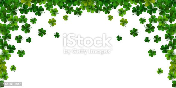Happy Saint Patrick's day background with realistic shamrock leaves, decorative frame template, vector illustration