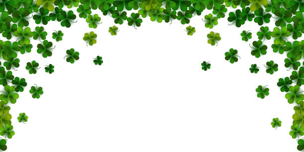 Happy Saint Patrick's day background with realistic shamrock leaves, decorative frame template, vector illustration Happy Saint Patrick's day background with realistic shamrock leaves, decorative frame template, vector illustration shamrock stock illustrations
