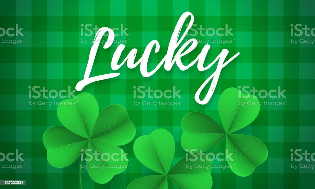 Happy Saint Patrick's day card with shamrock clover on white background. Vector St Patrick lettering for Feast of Saint Patrick festival day on 17 March. Irish holiday greeting card vector art illustration