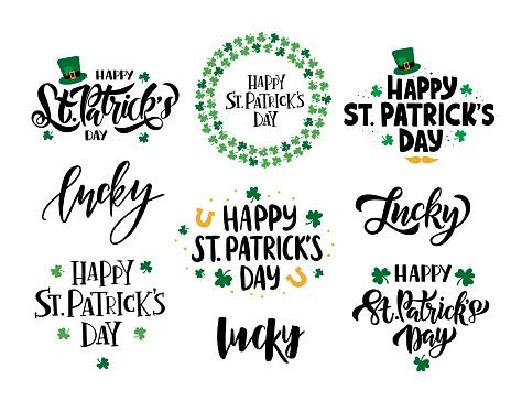 Happy Saint Patrick's day celebration illustration set.