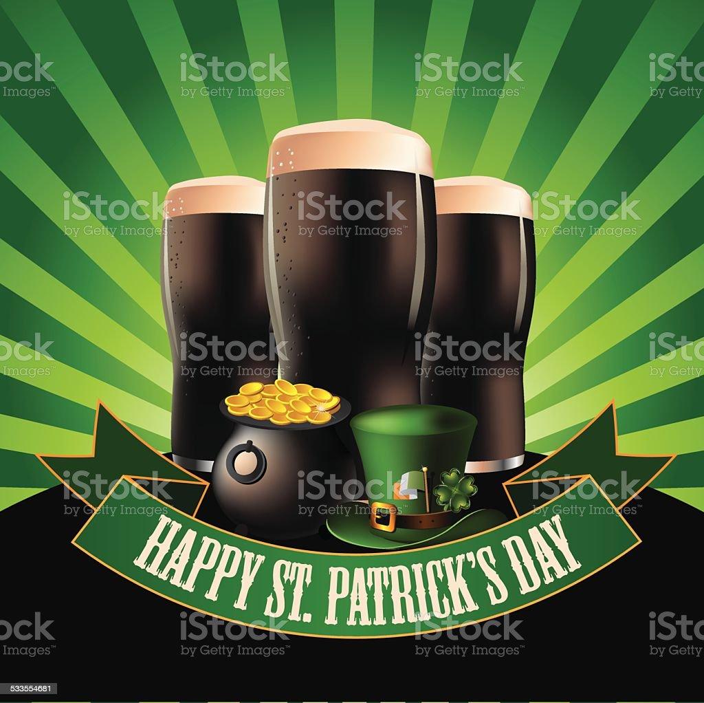 Happy Saint Patrick's Day dark beer burst design vector art illustration