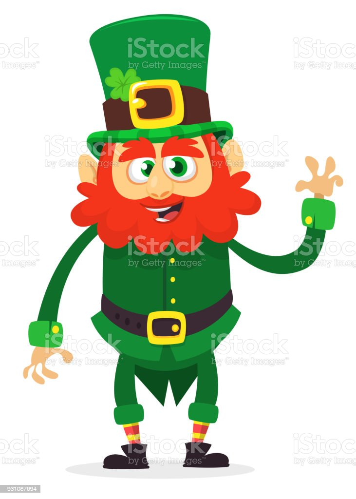 Happy Saint Patricks Day Funny St Patrick Smiling In Cartoon Style