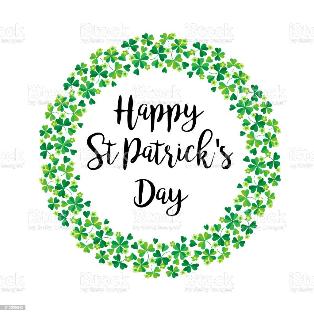happy Saint Patricks Day in shamrock wreath vector art illustration