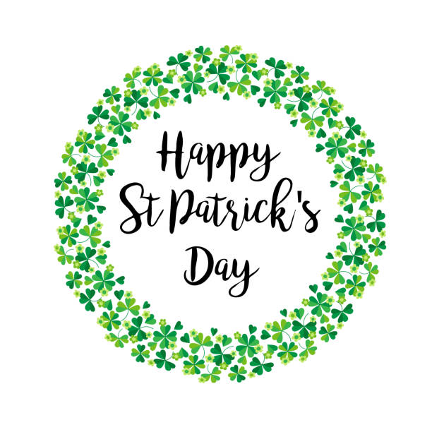 happy Saint Patricks Day in shamrock wreath vector art illustration
