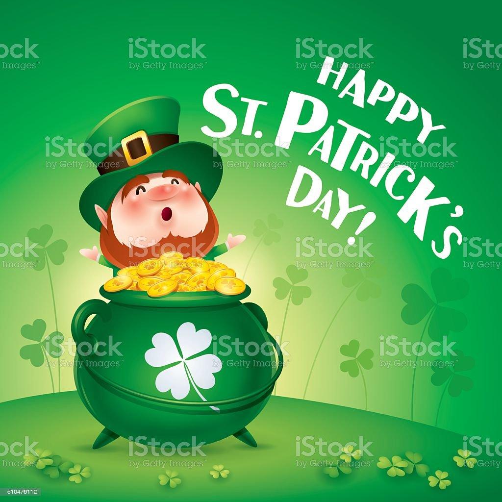 Happy Saint Patricks Day! Leprechaun on the clover field. vector art illustration