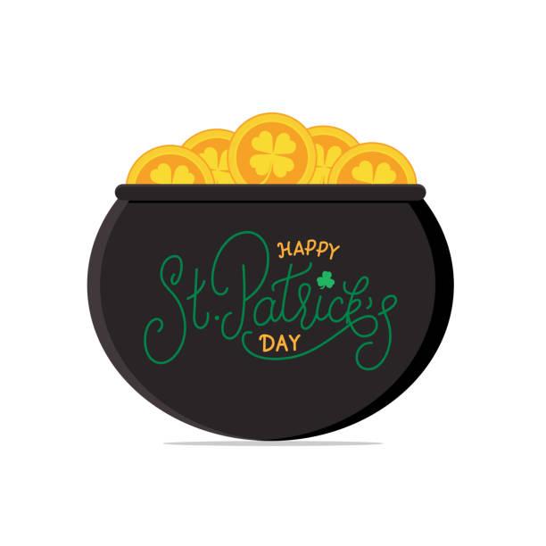 Glücklich St. Patricks Day. Topf mit gold-Münzen und St. Patricks Schriftzug. – Vektorgrafik