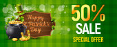 Saint Patrick's Day Vector Discount with Wood Sign, Pot of Gold, Leprechaun Hat and Clover