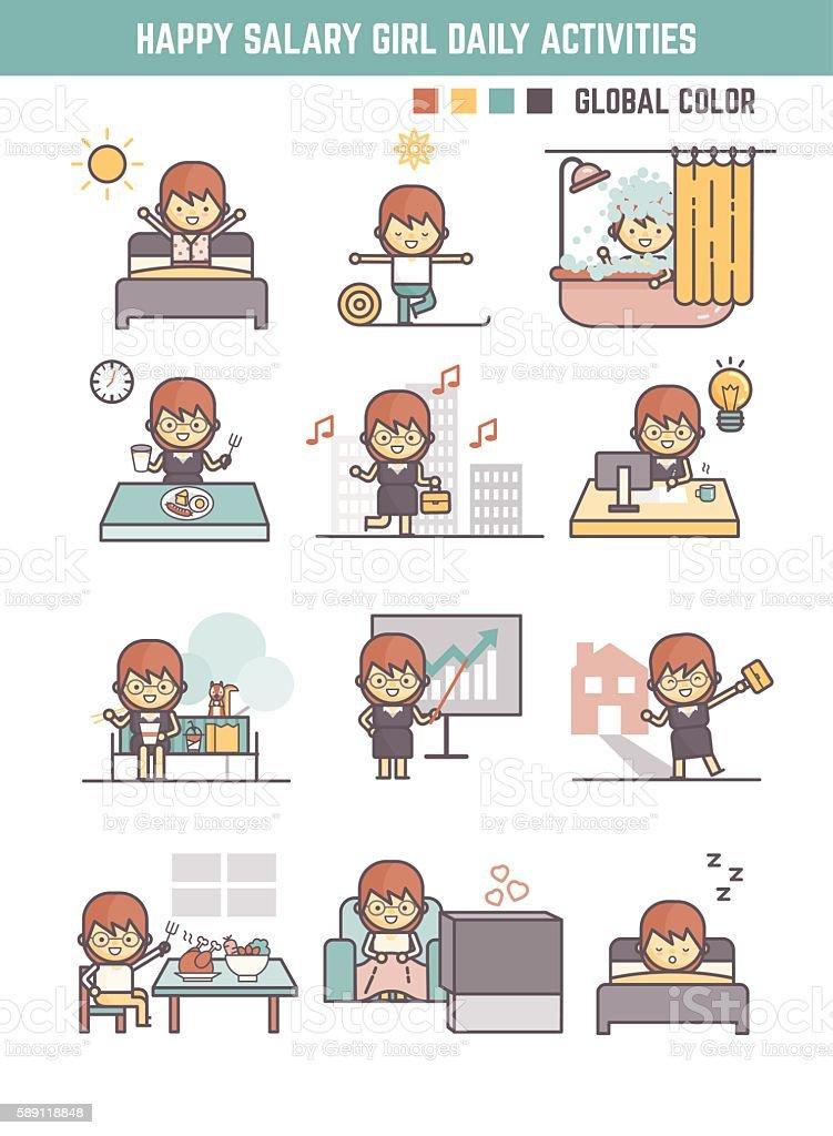 happy salary girl daily life routine cartoon character – Vektorgrafik