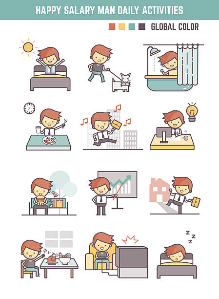 happy salary man daily life working day routine vector illustrat vector art illustration