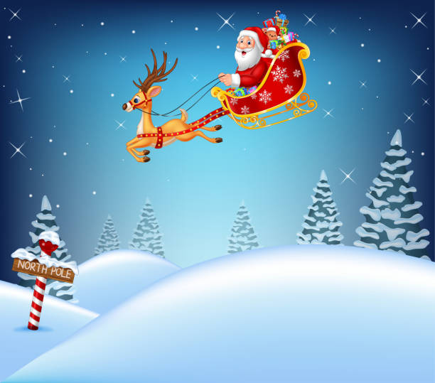 happy santa calaus in his sled pulled by reindeer - old man smiling backgrounds stock illustrations, clip art, cartoons, & icons