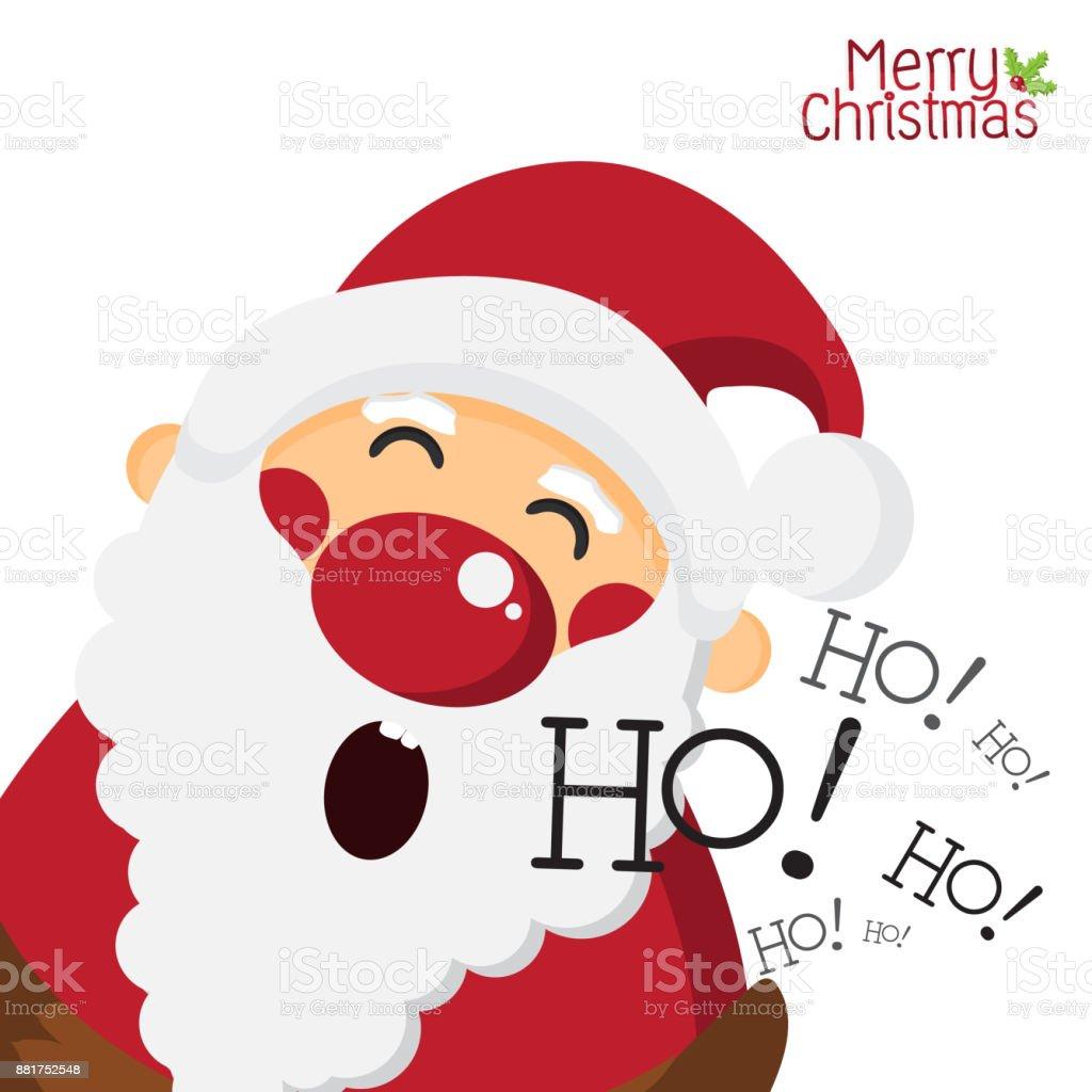 Ho Ho Ho Frohe Weihnachten.Glucklich Santa Claus Und Lachend Ho Ho Auf Weissem