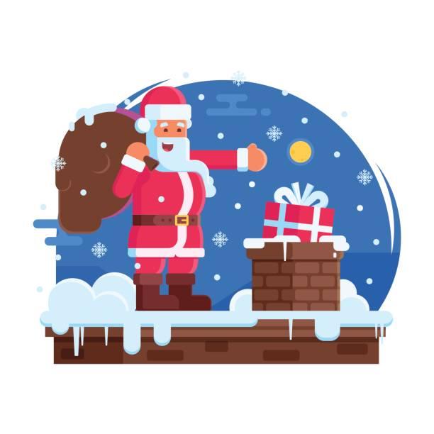 happy santa claus und dach schornstein - kaminverkleidungen stock-grafiken, -clipart, -cartoons und -symbole