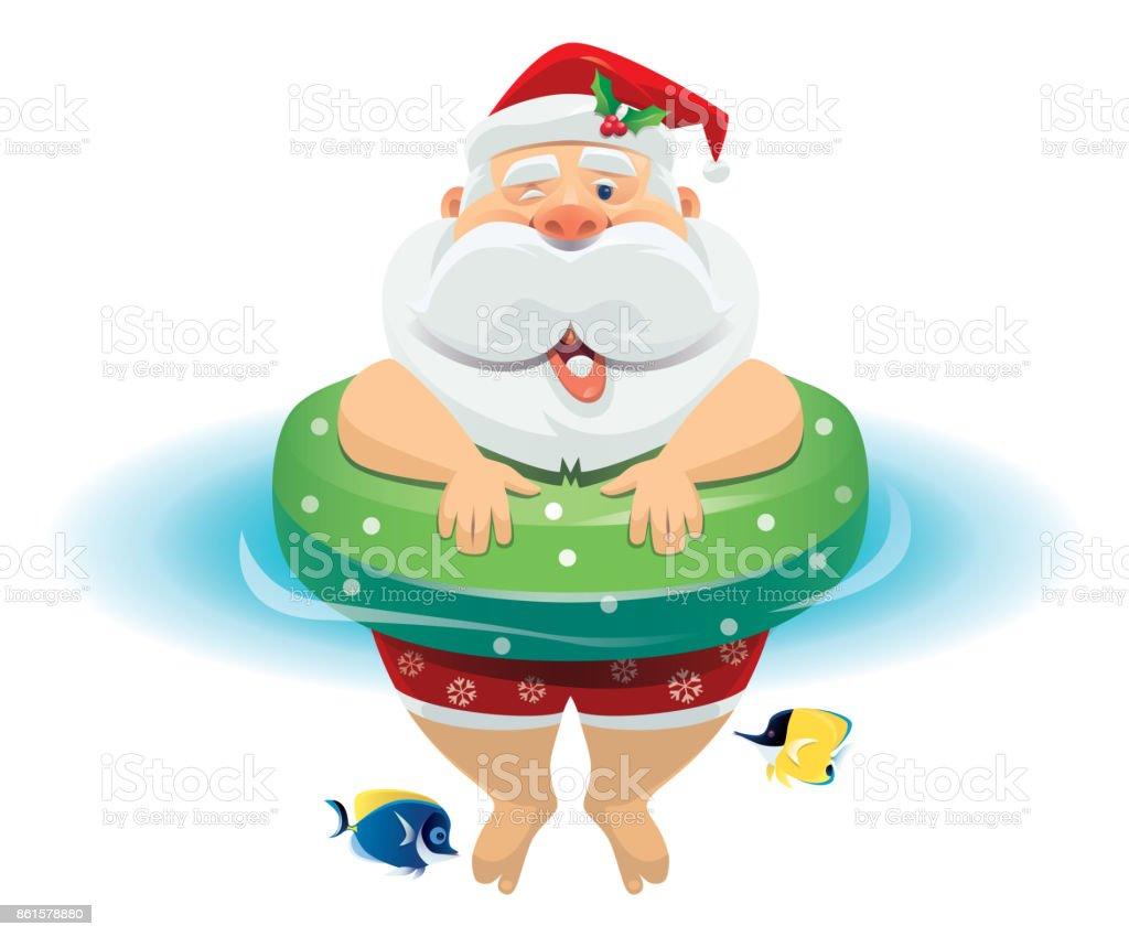 happy santa claus in buoy