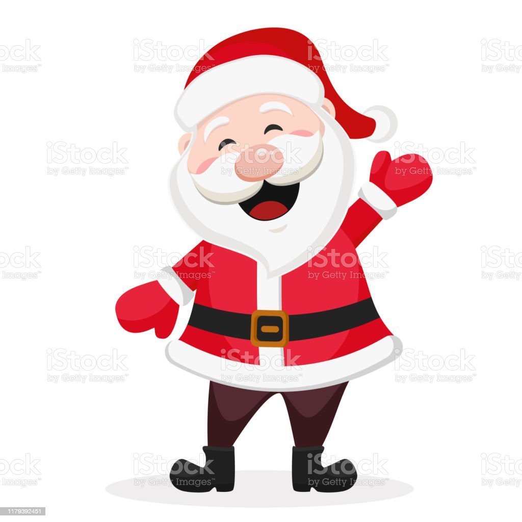 Felice Babbo Natale sorride e agita la mano su un bianco. - arte vettoriale royalty-free di Adulto