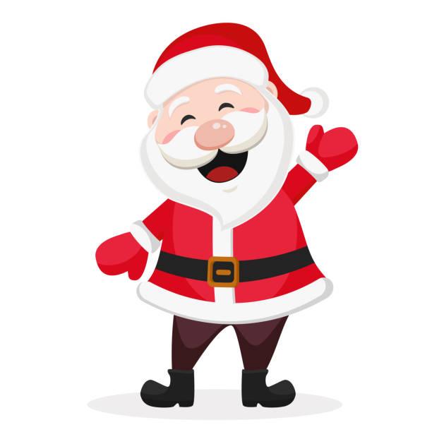 glücklicher weihnachtsmann lächelt und winkt mit der hand auf ein weiß. - santa stock-grafiken, -clipart, -cartoons und -symbole