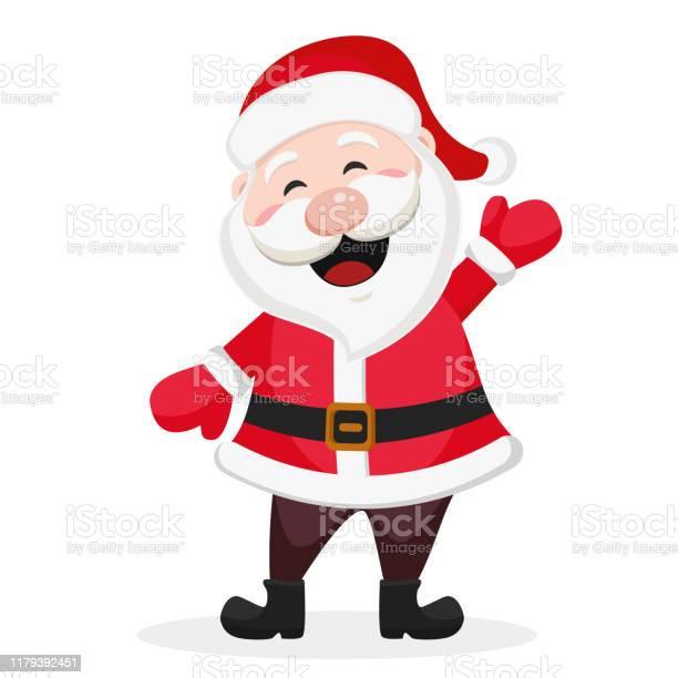 Felice Babbo Natale Sorride E Agita La Mano Su Un Bianco - Immagini vettoriali stock e altre immagini di Adulto