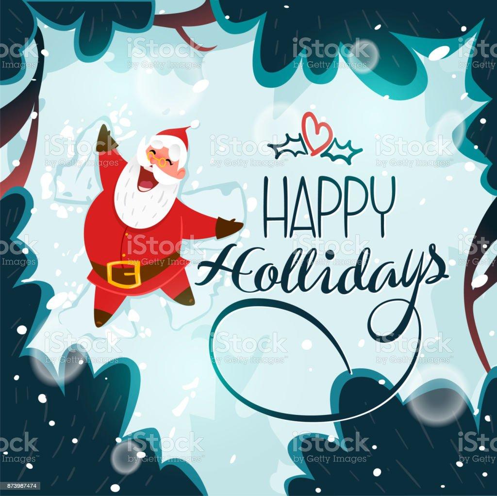 Glücklich Weihnachtsmann Einen Schneeengel Machen Süße Weihnachten ...