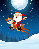 Illustration of Happy Santa claus riding a reindeer in the night background