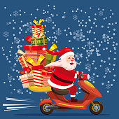 Happy Santa Claus with a gifts box riding a scooter