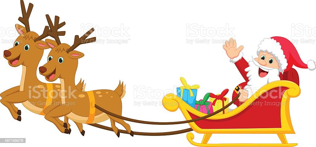 royalty free cartoon of santa sleigh with reindeer clip art vector rh istockphoto com santa's sleigh clipart santa sleigh flying clipart