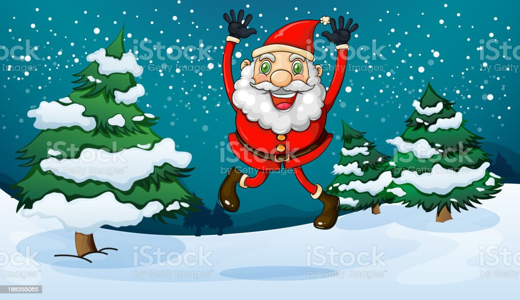 happy Santa near the pine trees royalty-free happy santa near the pine trees stock vector art & more images of adult