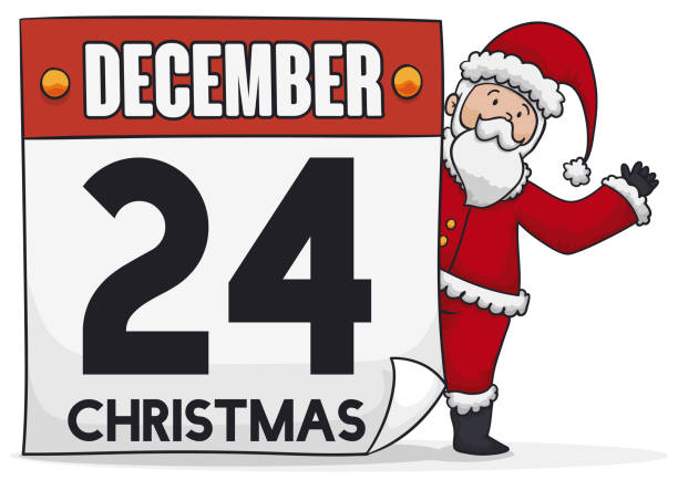 happy santa with calendar and reminder date for christmas - secret santa messages stock illustrations