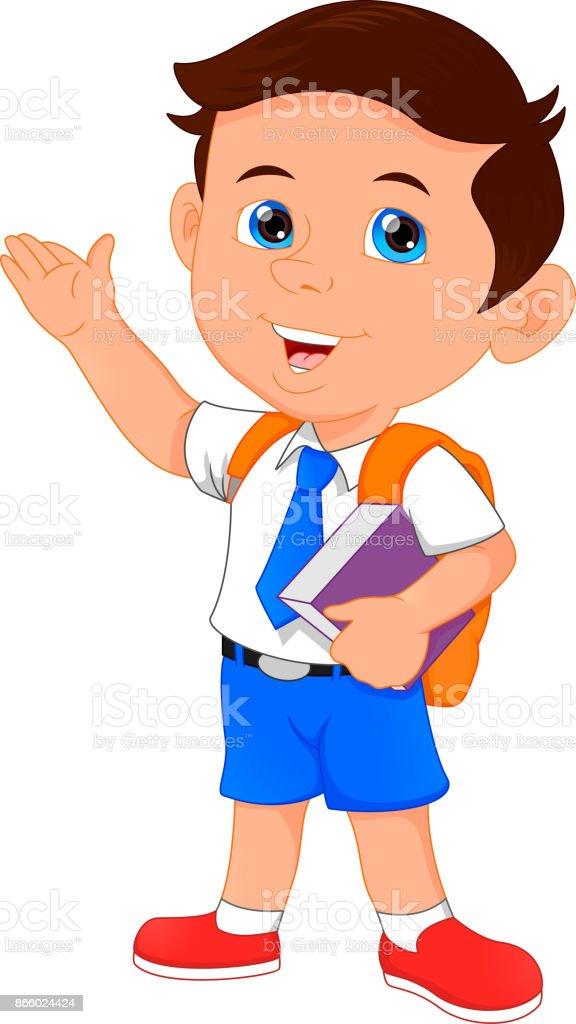 happy school boy cartoon vector art illustration