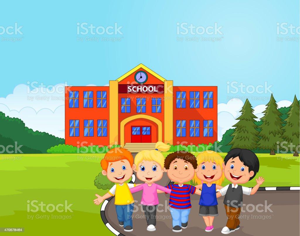 Vector illustration of Happy school children cartoon in front of...