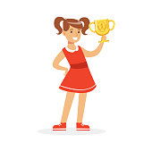 Happy school girl in red dress holding winner cup, kid celebrating her victory cartoon vector Illustration