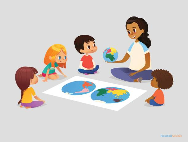 Happy school kids and teacher sit in circle around atlas and discuss geographical questions during lesson. Preschool activities concept. Vector illustration for poster, advertisement, website, banner. Happy school kids and teacher sit in circle around atlas and discuss geographical questions during lesson. Preschool activities concept. Vector illustration for poster, advertisement, website, banner. preschool teacher stock illustrations