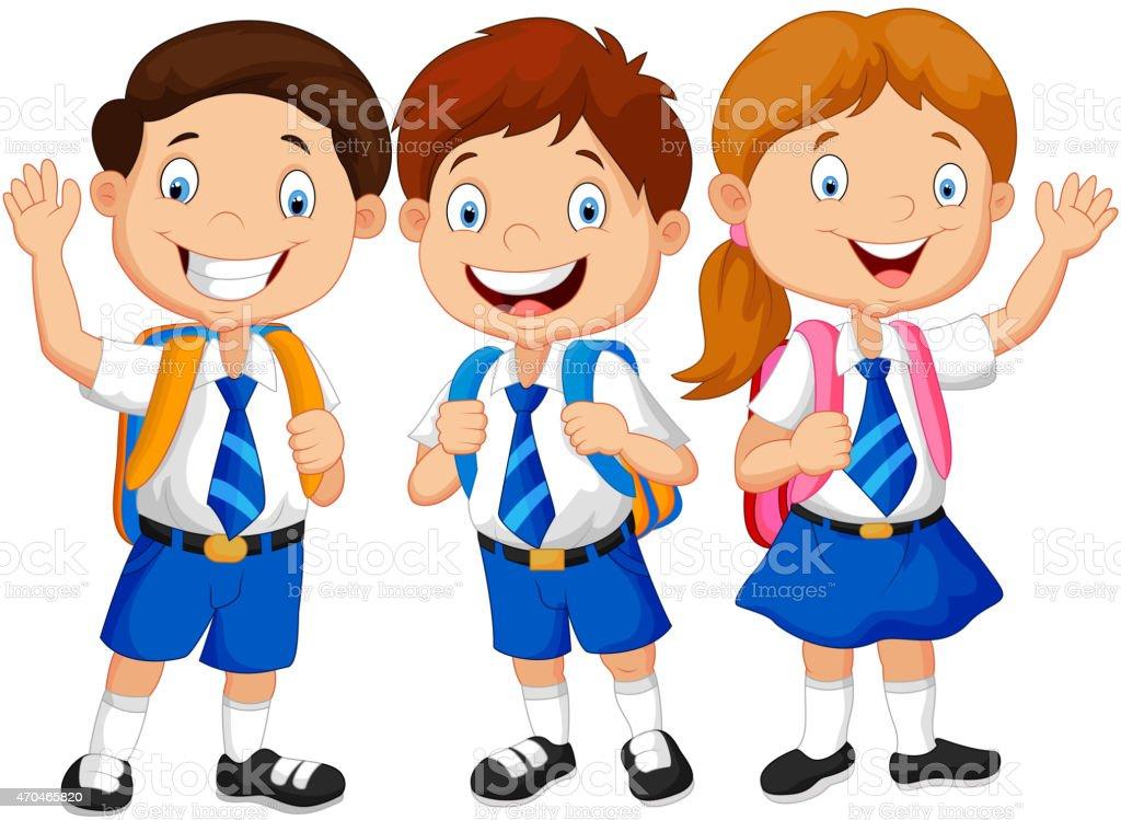 Happy school kids cartoon waving hand vector art illustration
