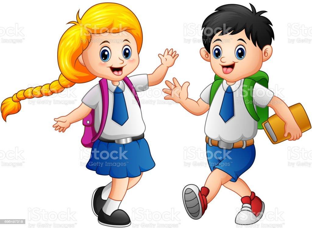 Happy school kids in a school uniform stock illustration for Uniform spa vector