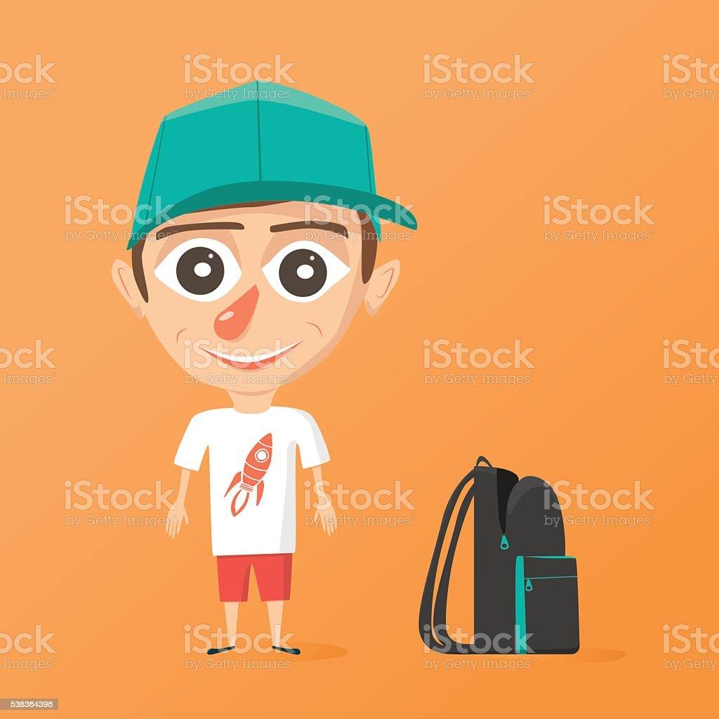 Ilustración De Feliz Niño En Edad Escolar Vector De Ilustración De