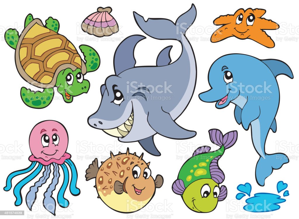 Happy sea animals collection vector art illustration