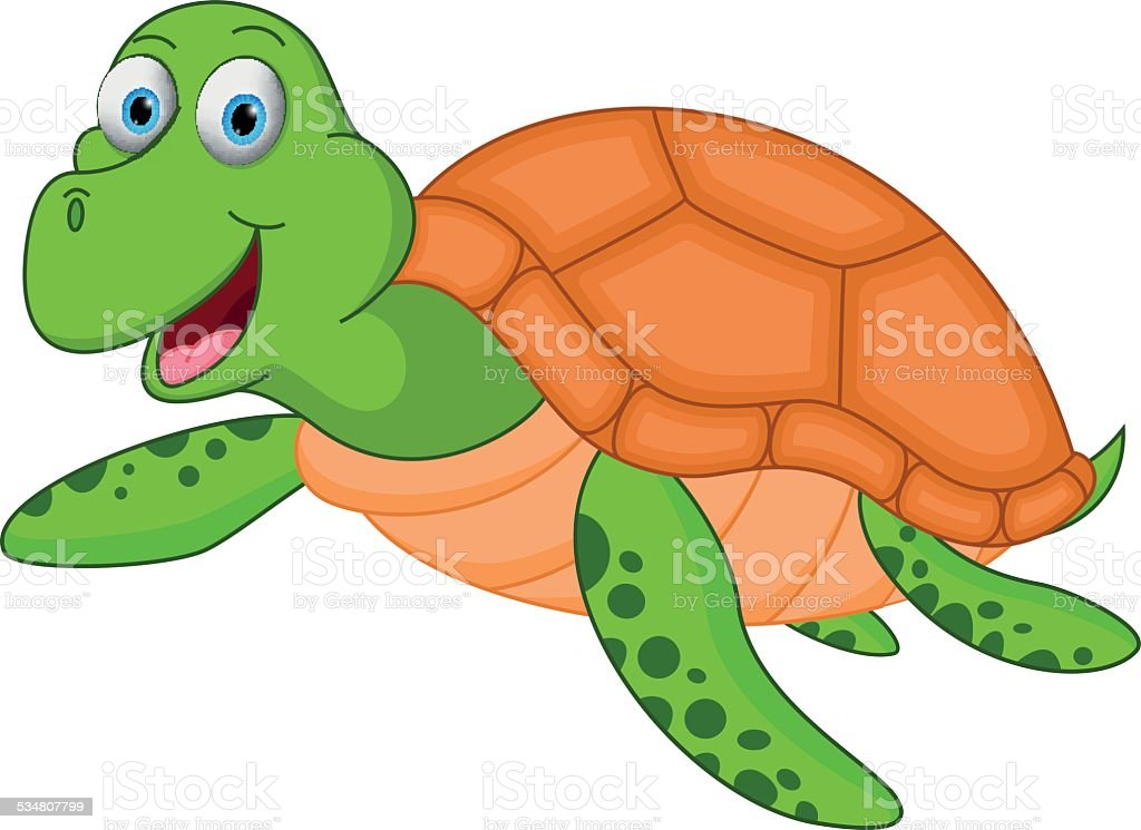 Happy sea turtle cartoon vector art illustration