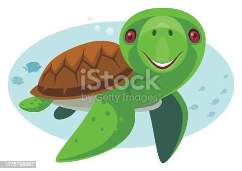 vector illustration of funny tortoise meeting bunny