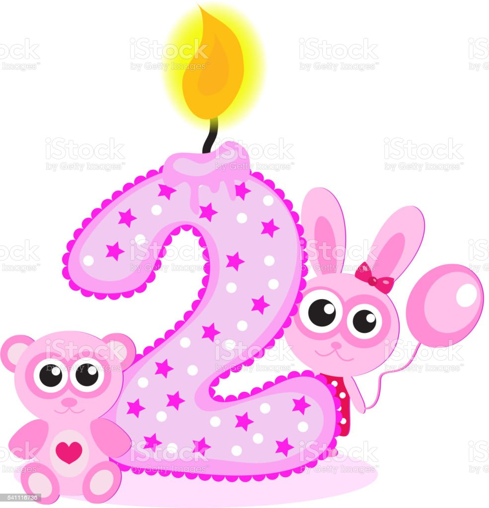 Happy Second Birthday Candle And Animals Isolated On White