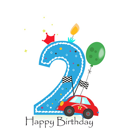 Happy second birthday candle. Baby boy greeting card with race car