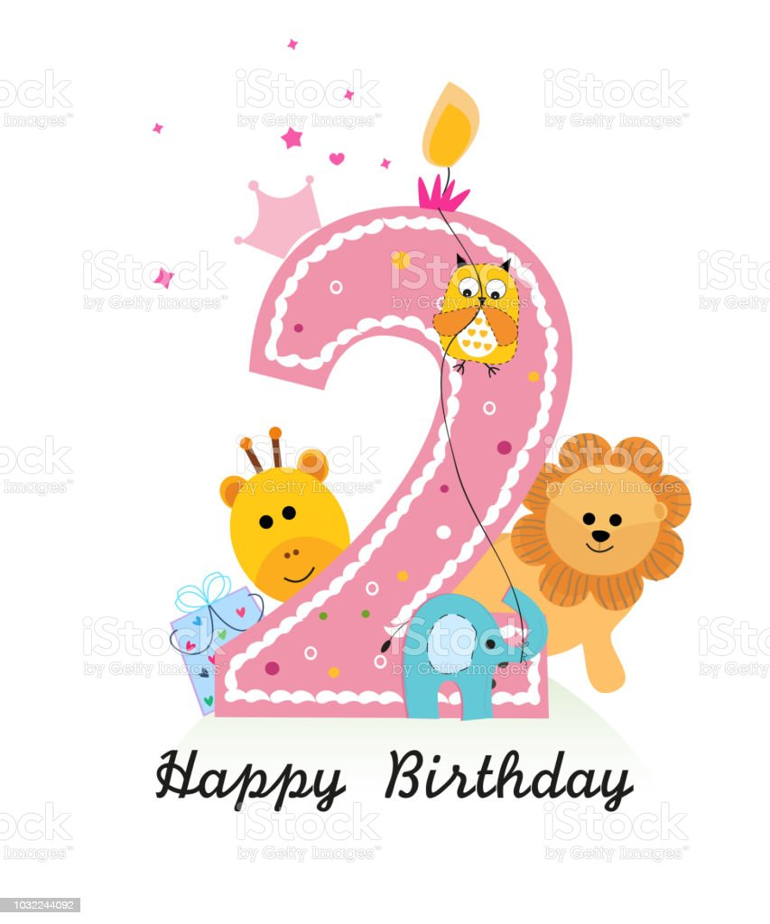 Happy Second Birthday With Animals Baby Girl Greeting Card