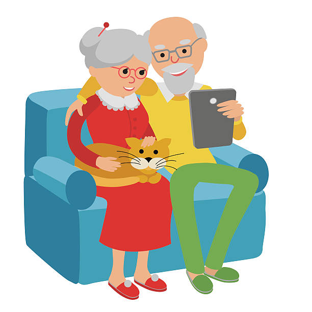 happy senior couple sitting on sofa read with tablet. - old man computer silhouette stock illustrations, clip art, cartoons, & icons