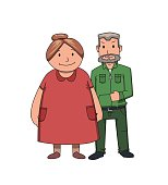 istock Happy senior couple smiling. Active lifestyle after retirement. Flat vector illustration. Isolated on white background. 1058348272
